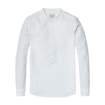Band Collar Pop-Over Shirt White