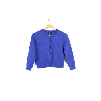 hand made alpaca wool cardigan sweater - periwinkle - soft! - small