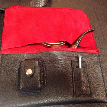 Leather pipe pouch - deluxe