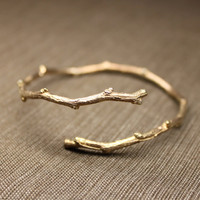 Twiggy Open Bangle in Rose Gold Vermeil