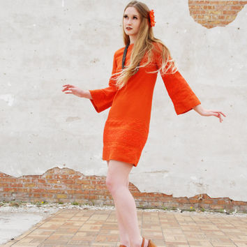 Vintage 1960s dress, orange mod mini baby doll, bell sleeves macro shift, pumpkin tangerine burnt orange