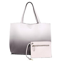 Ombre Reversible Tote Handbag In Taupe & Pink
