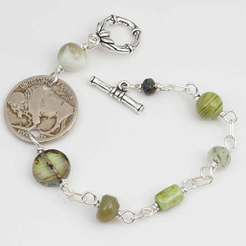 Green buffalo nickel bracelet, wirewrapped US coin jewelry, assorted green beads, silver, 7 inches