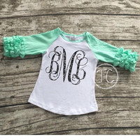 Long Sleeve Monogram Shirt, Ruffle Shirt, baby girls shirt, monogram shirt, Gold sparkle t-shirt, girls gold shirt