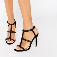 Faith Laroux Black Embellished Strappy Heeled Sandals at asos.com