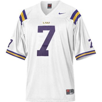 Nike LSU Tigers #7 Youth Replica Football Jersey - White - http://www.shareasale.com/m-pr.cfm?merchantID=7124&userID=1042934&productID=505569058 / LSU Tigers