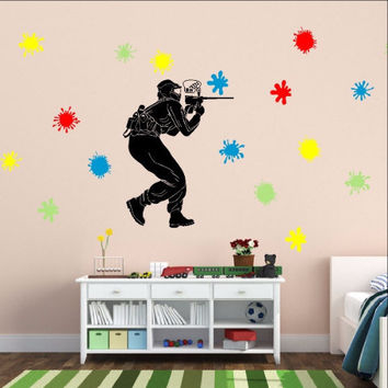 Paintball Player with Paint Splatters Vinyl Wall Decal Set 22259