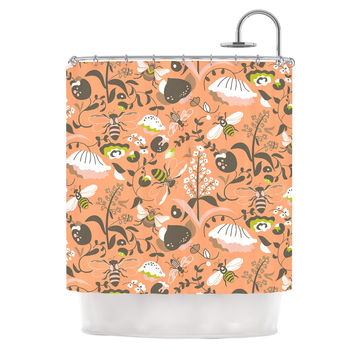 "Very Sarie ""Hope for the Flowers I"" Coral Brown Shower Curtain"