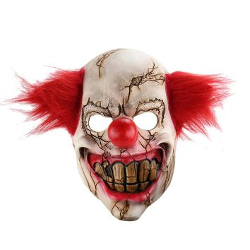 Joker Clown Costume Mask Creepy Evil Scary Halloween Clown Mask Adult Ghost Festive Party Mask Supplies Decoration