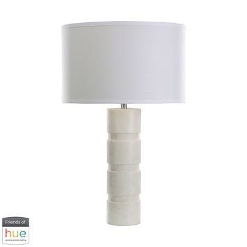 Round Stacked Marble Table Lamp - with Philips Hue LED Bulb/Bridge