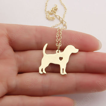 Beagle Necklace Stocking Stuffer Pendant Puppy Heart Dog Lover Memorial Pet Necklaces & Pendants Christmas Gift Lead Free