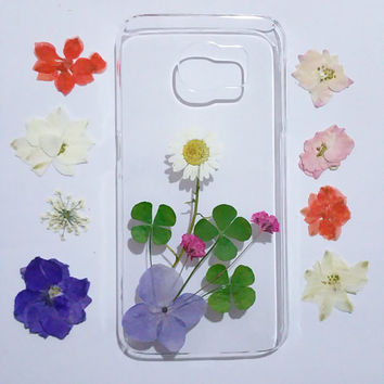 Clear Samsung Galaxy note 3 Case, Samsung Galaxy note 4 Case, pressed flower note 5 case, Galaxy note 5 flower, floral samsung galaxy case