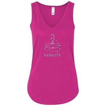 "Yoga Clothing for You Womens ""Namaste Lotus"" Flowy Yoga Tank Top"