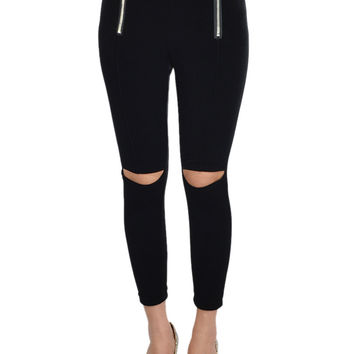Black Velvet Leggings With Cut Out Knees