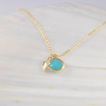 BLUE STONE with Small Bird NECKLACE, Delicate Pendant, High Quality Gold Plated 2.5 Mic, Special Gifts, Friendship Gift, Bridesmaid gift