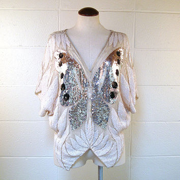 Vintage 1970s Sequin Butterfly  Top