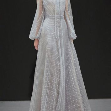 New Grey Patchwork Lace Pleated Long Sleeve Elegant Cocktail Party Maxi Dress
