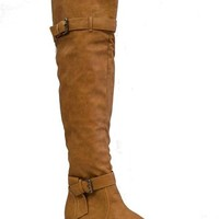 Candy's Women's Over Knee Thigh High Riding Boots in Dark Brown, Light Brown, Gray