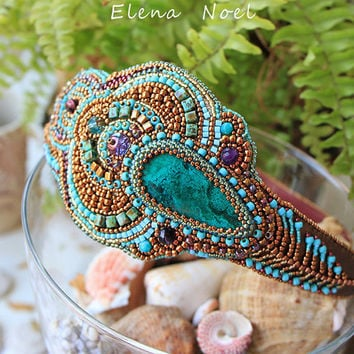 Peacock feather - beaded headband with natural Naural Ural stones gems - Bead Embroidery Art