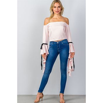 Off the Shoulder Pink Ruffled Sleeve Top
