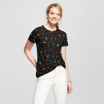 Women's Desert Night Cactus Short Sleeve Crew Neck T-shirt - Modern Lux (Juniors') - Black