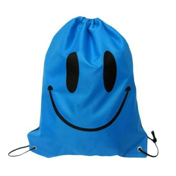 Blue Smiley Face Double Layer Drawstring Waterproof Gym Bag