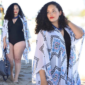 Plus Size Women Clothing Bathing Suit Plaid Blouse Sexy Chiffon Bikini Swimwear Cover Up Brand Outfits Beach Clothing Big Summer