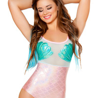 Mermaid Mesh Holographic Shell Rave Bodysuit