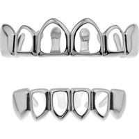 Silver Open Face Grillz Top and Bottom Set with Solid Fangs