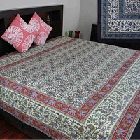 Handmade Elephant Floral Print Cotton Tapestry Spread 70 x 106 inches Red Blue