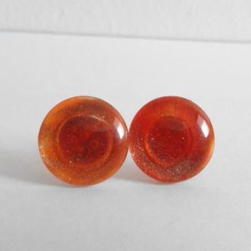 Sparkly Orange with Gold Glitter Round Glass Cabochon Stud Earrings