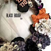 Halloween burlap door wreath, door wreath, holiday wreath, fall wreath, scary wreath