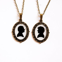 Sherlock Holmes and Doctor John Watson Silhouettes - Set of 2Handmade Vintage Cameo Pendant Necklaces - Best Friends Jewelry
