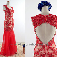 Lace Prom Gown, Red Tulle Open Back  Prom Dresses, Mermaid  Wedding Party Dresses, Beading  Long Formal Dress
