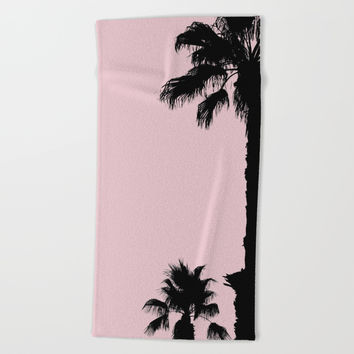 Palm Tree Silhouettes On Pink Beach Towel by ARTbyJWP