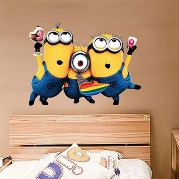 25*32cm Removable PVC Wall Decals Despicable Me 2 Cute Yellow Minion Wall Stickers for Kids Rooms