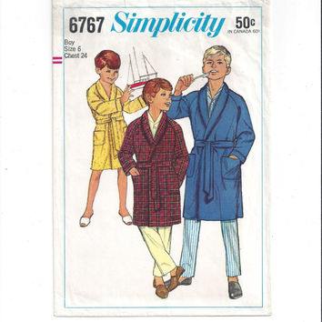 Simplicity 6767 Pattern for Boy's Robe, Size 6, From 1966, Raglan Sleeves, Tie, Vintage Pattern, Home Sewing Pattern, Boy Fashion Sewing