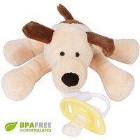 Detachable BPA Free Pacifier and Teether Holder - Cuddly, Soft & Fun - Your Baby Will Love This Squeaky Puppy and Silicone Binky! - 100% Satisfaction Guarantee! - Perfect unique Baby Shower Gift!