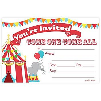 Carnival Circus Invitations - Birthday Party or Baby Shower - Fill In Style (20 Count) With Envelopes by m&h invites