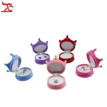 Elegant Velvet Ring Display Box Princess Crown Shaped Earing Stud Pendant Container Little Girl Necklace Ring Storage Gift Box