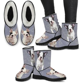 French Bulldog Print Faux Fur Boots For Women-Free Shipping
