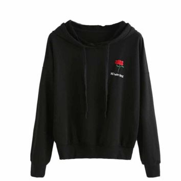 No Way Rose Chest embroidery Hoodie Sweatshirt Black Tumblr Inspired Aesthetic Pale Pastel Grunge Aesthetics S-XL #NNTW