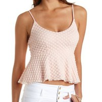 Dotted Lace Peplum Top by Charlotte Russe