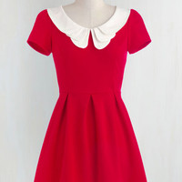 Vintage Inspired, Scholastic Mid-length Short Sleeves A-line Looking to Tomorrow Dress in Rouge by ModCloth