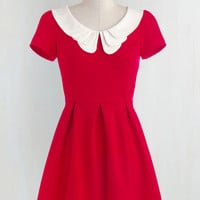 Vintage Inspired, Scholastic Mid-length Short Sleeves Fit & Flare Looking to Tomorrow Dress in Rouge