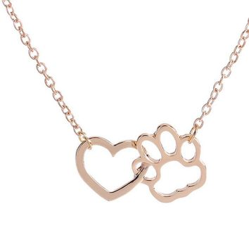 SUSENSTONE 2017 Necklace For Women Personalized Necklaces Fashion Jewelry Crystal Rhinestone Dog Paw heart-shaped #825