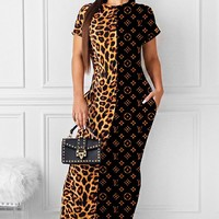 LV Louis Vuitton Summer New Fashion Leopard Monogram Print Stitching Dress