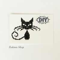 DIY Cat Cross stitch card Embroidery kitty wall art for by Xatara
