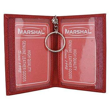 Genuine Lambskin Soft Leather Credit card Id Card Holder with Key Chain by Marshal