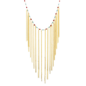 Turquoise and Coral Fringe Choker